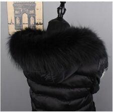 "Top Quality Real Raccoon Fur Collar Hood Trimming Scarf  Black 70*14cm/28X6""inch"