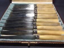 Lot anciens couteaux de table estampille PARIS dans étui ménagère french antique