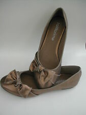 TAILLISSIME BRONZE GOLD FAUX LEATHER METALLIC BOW FLAT BALLET PARTY SHOE 6.5 BN