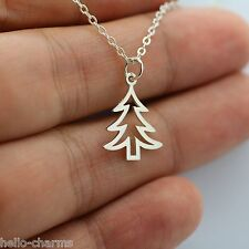 CHRISTMAS TREE NECKLACE - 925 Sterling Silver Xmas Tree Holidays Santa Claus NEW
