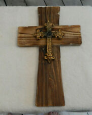 Cross Wall Decor-Metal Cross on Wood Cross