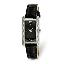 LADIES CHARLES HUBERT LEATHER BAND CRYSTAL ACCENTS BLACK DIAL  21X30mm WATCH