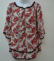White House Black Market Small Red Top Shirt Blouse Floral Layered Womens