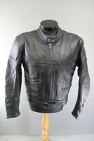 ECHO BLACK LEATHER BIKER JACKET WITH BACK, SHOULDER & ELBOW PROTECTORS 40 INCH