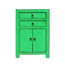 Oriental Bright Green Lacquer Two Drawers End Table Nightstand cs5393