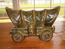 VINTAGE SHADES OF GREEN SHAWNEE U.S.A. POTTERY COVERED WAGON T.V. LAMP EUC
