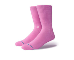 Stance Men Pink Crew Cotton Cushioned Classic Icon Logo Casual Socks L 9-12 SJ