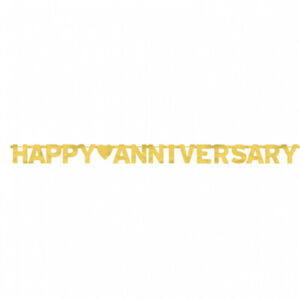 Gold Happy Anniversary Large Letter Banner