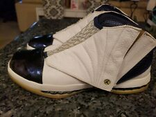 47b0f3d9040b2 2001 Nike Air Jordan XVI 16 White Midnight Navy 136059-141 size 10.5 Rare OG