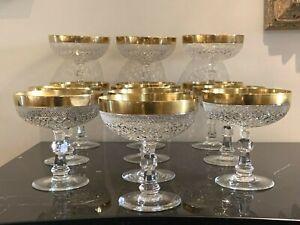 Vintage Moser Czech Cut Crystal Champagne Sherbet Glasses w Gold Rim Set of 13