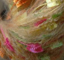 2 x 50g Decorative Mohair Lurex Yarn. Beige/Multi-colour. Knit/Weave/Crochet