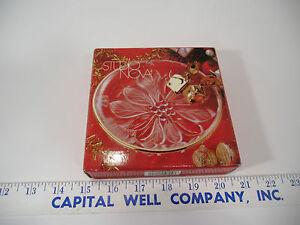 "Studio Nova Guilded Poinsettia  WY327/507 5"" Round Candy Dish Gold Trim - NEW"