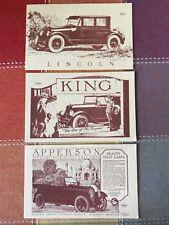 3 Reproduction Automobile Advertisement Postcards