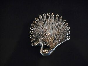 VINTAGE SIGNED MEXICO SILVER LARGE PEACOCK BROOCH or PIN OLD MARK TAXCO ?