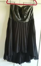 love lable size 16 black chiffon dress pu leather type bust strapless dipped hem