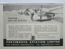 1/1946 PUB PORTSMOUTH AVIATION AEROCAR SNOW SKI PLANE AIRCRAFT AVION ORIGINAL AD