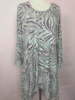 LOGO by Lori Goldstein Green Printed Knit Top with Faux Leather Trim sz Small
