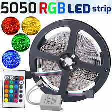 16Ft Multi-Color 5050 SMD RGB 300led 5M Flexible LED Strip Light+24key IR Remote