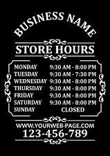 """Custom Business Store Hours Sign Vinyl Decal Sticker 15""""x18"""" Door Glass"""