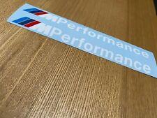 BMW M Performance Side stickers x 2 Decals Vinyl Skirt Bumper Window 200mm White