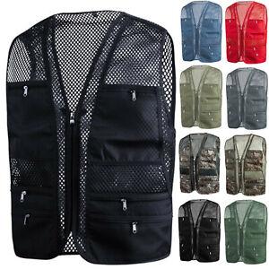 New Mens Sports Vest Multi Pockets Mesh Fishing Hunting Work Wear Vests W02 S-XL