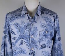 NEW Tommy Bahama High Desert Palm L/S Button Up Shirt MENS LARGE Floral Blue