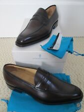 NIB Sutor Mantellassi Olimpo Dark Brown Leather Penny Loafers Sz 8.5 US 9.5 $895