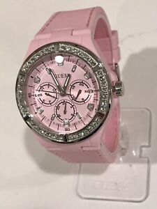 """GUESS LADIE'S PINK STRAP WATCH WITH CRYSTALS """"NEW IN BOX"""""""