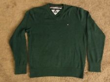 Tommy Hilfiger Mens Size Medium Green Knit V-Neck Sweater Top