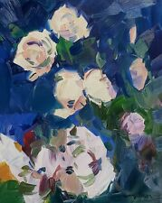 JOSE TRUJILLO Oil Painting IMPRESSIONISM FLORAL PEONIES FLOWERS LARGE 16X20