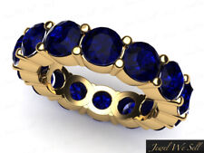 5.10Ct Round Sapphire Classic Shared Prong Wedding Eternity Band Ring 18k AAAA