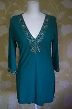 LE CHATEAU Green top/dress with Embroidered neck and ¾ length sleeves. XL