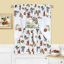 Harvest Orchard Apples, Pears & Grapes 3 Pc Kitchen Curtain Set - Assorted Sizes