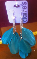 Claire's Claires Accessories Official Earrings Dangly Feather Green £7 RRP