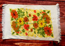 VTG FASHION YELLOW FLORAL rose hand BATH TOWEL MCM orange leaves autumn brown