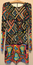 GROOVY PRINT MINI SHIFT DRESS PSYCHEDELIC PRINT FROM JB BY JULIE BROWN  SIZE:S