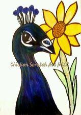 """Peacock """"Queeny"""" Original Chicken Artwork My Little Chicken Coop,"""
