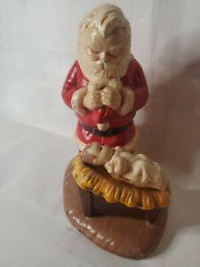 Vtg Kneeling Praying Santa w/ Baby Jesus Ceramic Christmas Figure Nativity