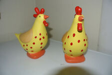 Ceramic Chickens Coin Piggy Bank Set 2 Hens Roosters Savings CUTE