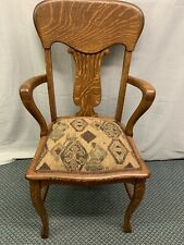 Antique Quartered Oak Claw Foot Office Business Arm Desk Side Chair Restored !!