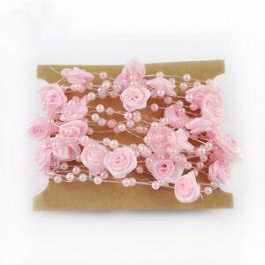 5 meters Garland Imitation Pearl Beaded Rose Flower Ornament Xmas Wedding Decor