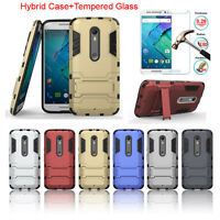 Rugged Hybrid Armor Back Case Cover+Tempered Glass Protector For Motorola Phones