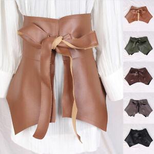 Ultra Wide Cummerbunds Womens Skirt Peplum Belt Ruffle Belt PU Leather Accessory