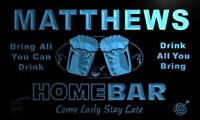 p1169-b Matthews Home Bar Beer Family Name Neon LED Sign