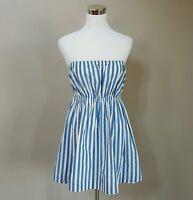 JACK WILLS Light Blue & White Striped Strapless Short Dress Size 10 Pockets