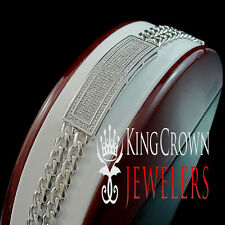 Genuine Diamond Mens Solid White Gold Finish Miami Cuban 15 MM Bracelet 1.00 Ct