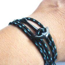 Anchor armbandschwarz Blue Maritime Surfer Wrap-Around Bracelet Multilayer
