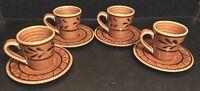 Set of 4 Breton (Argoat Gourin Bretagne) Faience Demitasse Espresso Cups Saucers