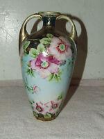 Antique Signed NIPPON Japan Hand Painted Porcelain Gorgeous Handled Vase Urn