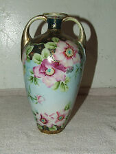 Antique Signed NIPPON Japan Hand Painted Porcelain Gorgeous Handled Vase Urn